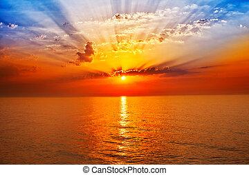 amanhecer, em, a, mar