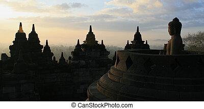 amanhecer, em, borobodur, templo, yogyakarta, indonésia