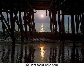 amanhecer, em, oceânicos, antigas, cais