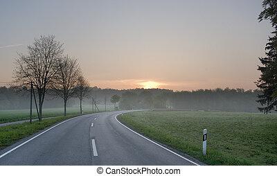 amanhecer, estrada