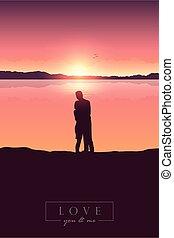 amanhecer, jovem, montanha, par, vista, lago, amor