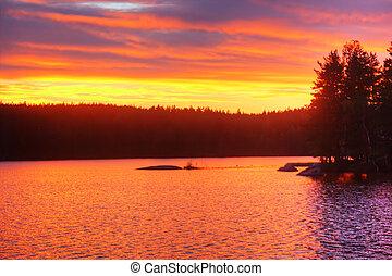 amanhecer, ligado, lago