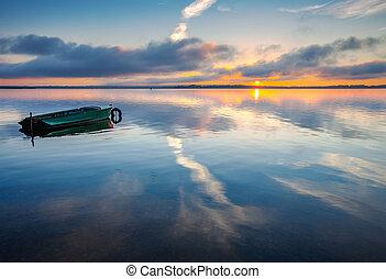 amanhecer, ligado, lago, seliger.