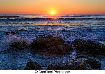 amanhecer, ligado, rochoso, beachy