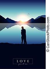amanhecer, montanha, amor jovem, lago, par, azul, vista