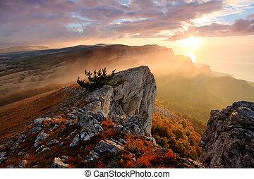 amanhecer, montanhas, ai-petri., alupka, crimea, ucrânia