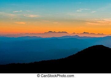 amanhecer, montanhas, paisagem