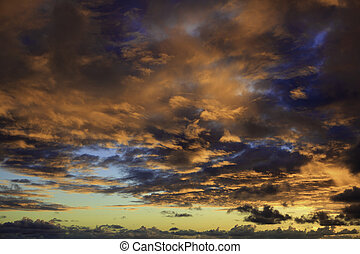 amanhecer, nuvens, havaí, pacífico, acima