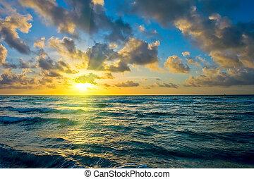 amanhecer, oceano atlântico