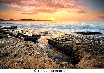 amanhecer, pérola, praia, austrália