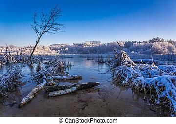 amanhecer, sobre, a, inverno, lago