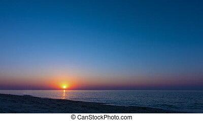 amanhecer, sobre, a, mar