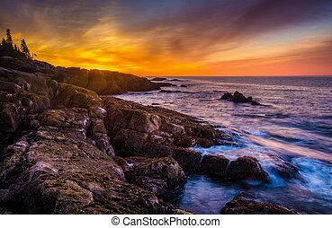 amanhecer, sobre, costa rochosa, e, oceano atlântico, em,...