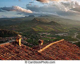 amanhecer, sobre, italiano, hills., itália