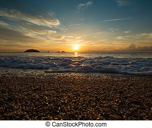 amanhecer, sobre, mar