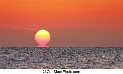 amanhecer, sobre, mar, -, timelapse