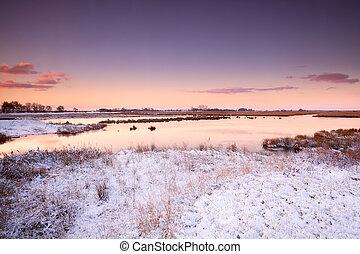 amanhecer, sobre, rio, em, inverno