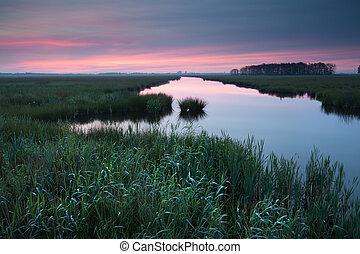amanhecer, sobre, rio, em, primavera