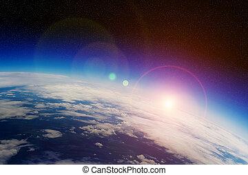 amanhecer, sobre, terra planeta, em, espaço
