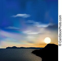 amanhecer, sol, durante, céu, mar, natureza, fundo, montanha