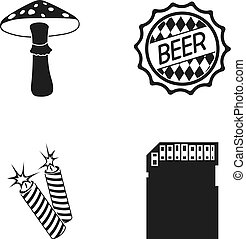 Amanita, beer and other web icon in black style. petard, micro CD icons in set collection.