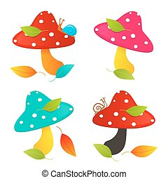 Amanita Mushroom Set - Colorful Vector Illustration