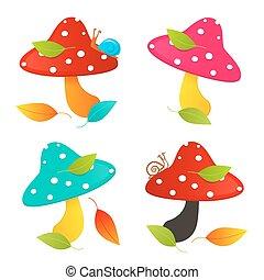Amanita Mushroom Set - Colorful Vector Illustration