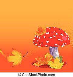 amanita, otoño
