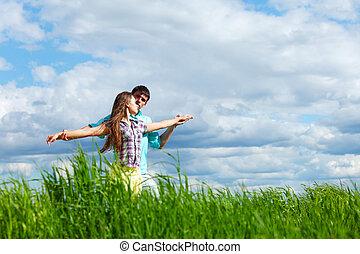 amant, étreinte, dans, les, ciel