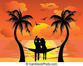 amant, coucher soleil, regarder