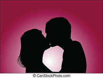 amante, com, fundo, -, vetorial
