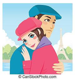 amantes, abraço, torre eiffel