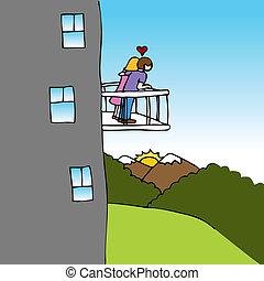 amantes, balcón, vista