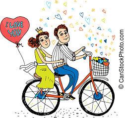 amantes, bicicleta, dois, jovem, tandem, montando