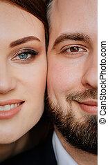 amantes, bonito, close-up., mulher, homem