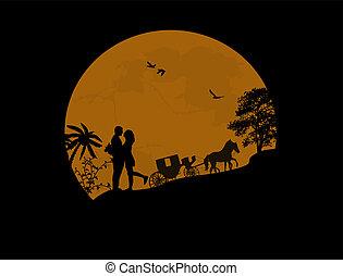 amantes, carruagem, noturna