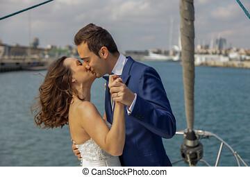 amantes, cubierta, baile, velero, pareja, casado, nuevamente