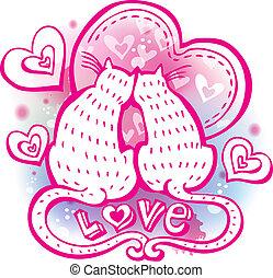 amantes, dos, gato