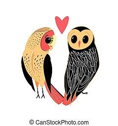 amantes, engraçado, coruja