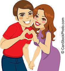 amantes, fazer, coração, amor, sinal