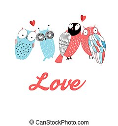 amantes, gráfico, coruja
