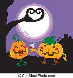 amantes, halloween, calabaza