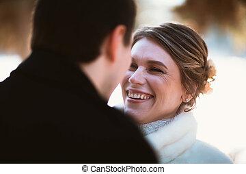 amantes, inverno, seu, noivo, noiva, casório