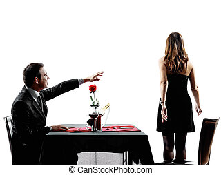 amantes, jantar, pares, silhuetas, separação, namorando,...