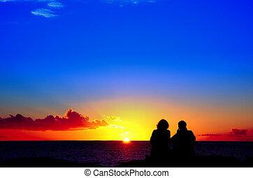 amantes, para, a, pôr do sol