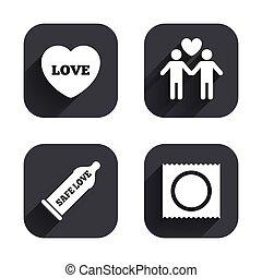 amantes, pares alegres, seguro, icons., sexo, condón, signo.
