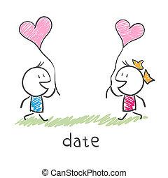 amantes, reunião, dois