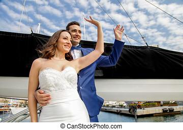 amantes, romántico, velero, pareja, vela, actitud, casado,...