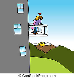 amanti, balcone, vista
