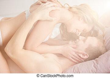 amanti, durante, erotico, preliminari amorosi